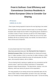 Frost & Sullivan: Cost Efficiency and Convenience Convince Residents in Select European Cities to Consider Car Sharing