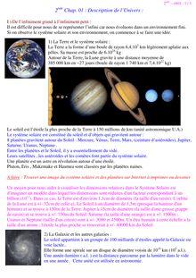 Cours sur la description de l'univers - physique-chimie 2nd