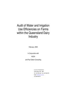 Rural Water Use Efficiency Initiative Dairy Audit 2000
