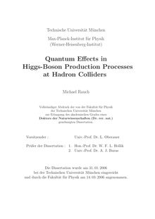 Quantum effects in Higgs-boson production processes at hadron colliders [Elektronische Ressource] / Michael Rauch