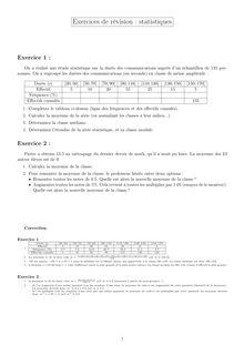 Exercice de révision sur les statistiques