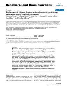 Similarity of DMD gene deletion and duplication in the Chinese patients compared to global populations