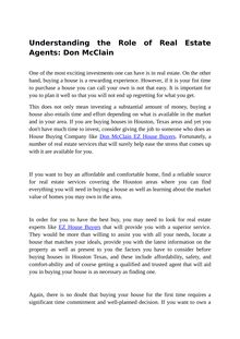 Understanding the Role of Real Estate Agents: Don McClain