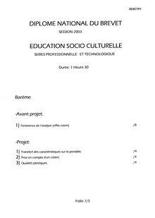 Brevet 2003 education socio culturelle