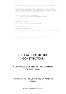 The Fathers of the Constitution; a chronicle of the establishment of the Union