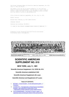 Scientific American Supplement, No. 810, July 11, 1891