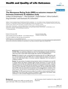 The Menopause Rating Scale (MRS) as outcome measure for hormone treatment? A validation study