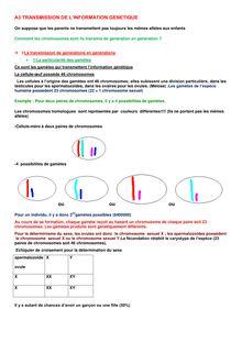 Cours de SVT 3e : La Transmission de l'information génétique