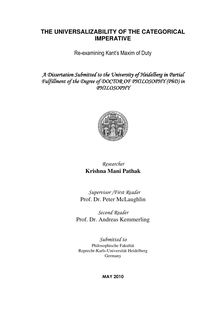The universalizability of the categorial imperative [Elektronische Ressource] : re-examining Kant