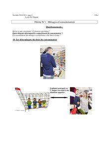 Ménages et consommation : cours de sciences économiques et sociale pour les élèves de seconde