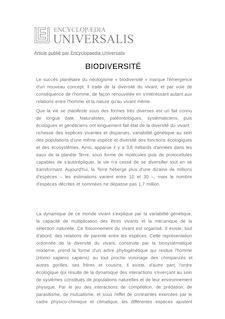 Définition de : BIODIVERSITÉ - Robert BARBAULT