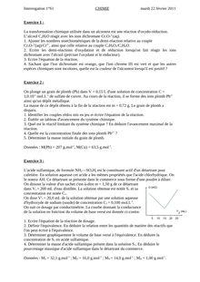 Devoir Surveille Ds De Chimie De Niveau Premiere M Douezy Ressou