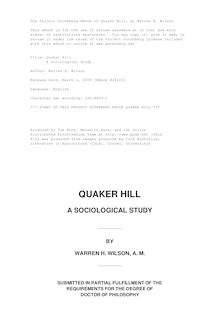 Quaker Hill - A Sociological Study