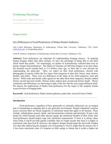 Sex differences in food preferences of Hadza hunter-gatherers
