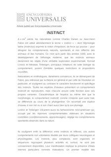 Définition de : INSTINCT - Michel VANCASSEL
