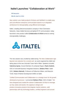 "Italtel Launches ""Collaboration at Work"""