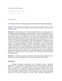 Evolutionary theory's increasing role in personality and social psychology
