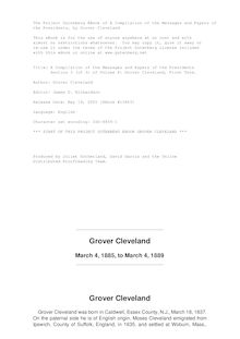 A Compilation of the Messages and Papers of the Presidents - Volume 8, part 3: Grover Cleveland, First Term