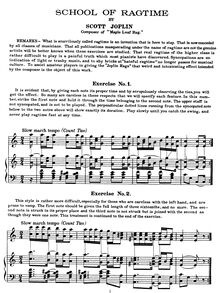 Partition complète, School of Ragtime, School of Ragtime. 6 Exercises for Piano - Instructional Manual