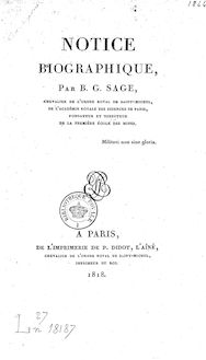 Notice biographique, par B.-G. Sage,...