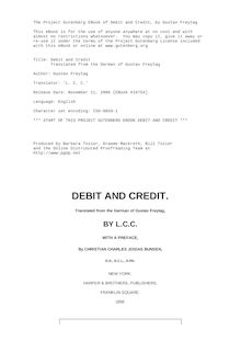 Debit and Credit - Translated from the German of Gustav Freytag