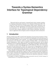 Towards a Syntax Semantics Interface for Topological Dependency
