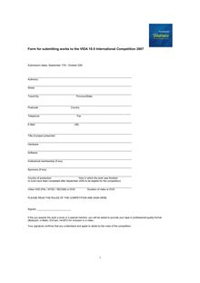 Form for submitting works to the VIDA 10.0 International Competition ...