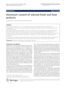 Aluminium content of selected foods and food products