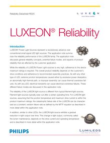 Introduction LUXEON® Power Light Sources represent a revolutionary advance over