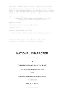 National Character - A Thanksgiving Discourse Delivered November 15th, 1855, - in the Franklin Street Presbyterian Church