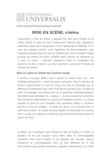 Définition de : MISE EN SCÈNE, cinéma - Vincent PINEL
