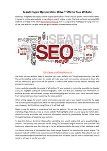 Search Engine Optimization: Drive Traffic to Your Website
