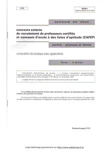 Composition de physique avec applications 2004 CAPES de physique-chimie CAPES (Externe)
