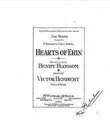 Partition complète, Eileen (pour Hearts of Erin), Comic Opera in Three Acts