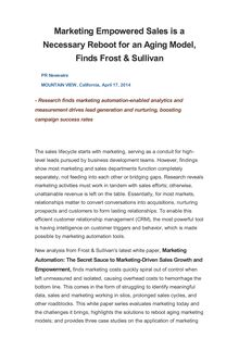 Marketing Empowered Sales is a Necessary Reboot for an Aging Model, Finds Frost & Sullivan