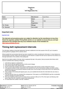 Timing belt replacement intervals
