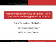 Introduction Measurement of gender equality
