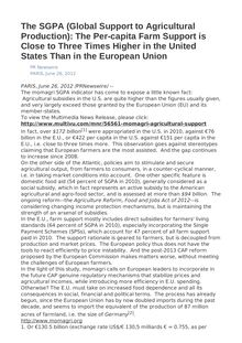 The SGPA (Global Support to Agricultural Production): The Per-capita Farm Support is Close to Three Times Higher in the United States Than in the European Union