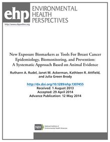 New Exposure Biomarkers as Tools For Breast Cancer Epidemiology, Biomonitoring, and Prevention: A Systematic Approach Based on Animal Evidence