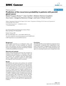 Prediction of the recurrence probability in patients with parotid gland cancer