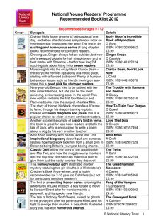 Booklist 2010 9-12 yrs - National Young Readers
