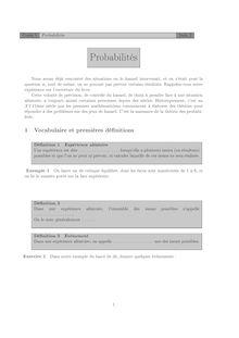 Chapitre sur les probabilités Cours 5