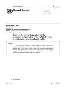 Report of the Special Rapporteur on the promotion and protection of the right to freedom  of opinion and expression, Frank La Rue*