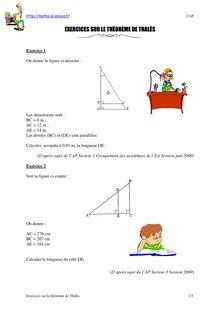 Exercices sur le théorème de Thalès - LOPEZ - Collège Lycée