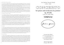 Partition timbales (brochure format), Piano Concerto Op.49 (Craw 187)