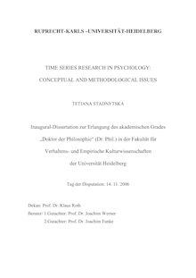 Time series research in psychology [Elektronische Ressource] : conceptual and methodological issues / Tetiana Stadnytska