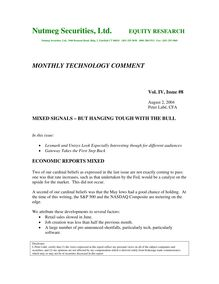MONTHLY TECHNOLOGY COMMENT