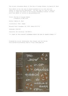 The Bow of Orange Ribbon - A Romance of New York