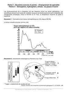 Atmosphère, hydrosphère, climats : du passé à l'avenir - Exercice svt Terminale S