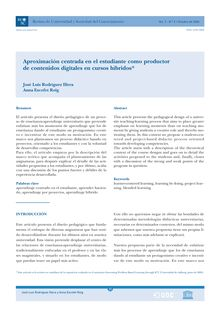 Aproximación centrada en el estudiante como productor de contenidos digitales en cursos híbridos (An approach centered on the student as the producer of digital content in hybrid courses) (Aproximació centrada en l